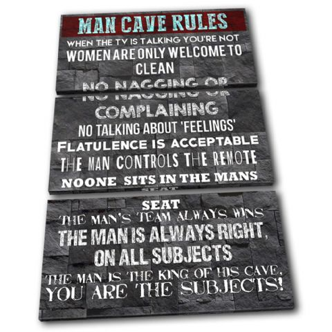 Man Cave House Rules Typography - 13-2371(00B)-TR32-PO